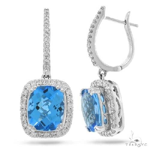 0.85ct Diamond and 6.40ct Blue Topaz 14k White Gold Earrings Stone