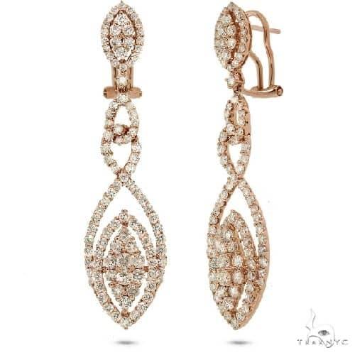 18k Rose Gold Diamond Earrings Stone