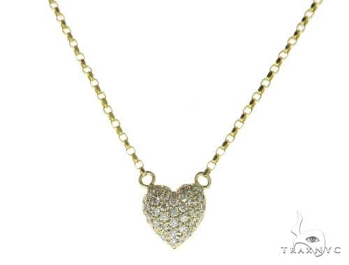 14K Yellow Gold Heart Diamond Necklace 57421 Diamond