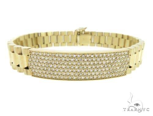 14K Yellow Gold Prong Set Diamond Presidential Bracelet 57423 Diamond