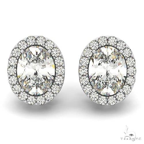 Oval-shape Diamond Halo Stud Earrings 14k White Gold (1.20ct) Stone