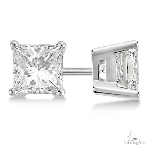 Princess Diamond Stud Earrings Palladium H-I, SI2-SI3 Stone