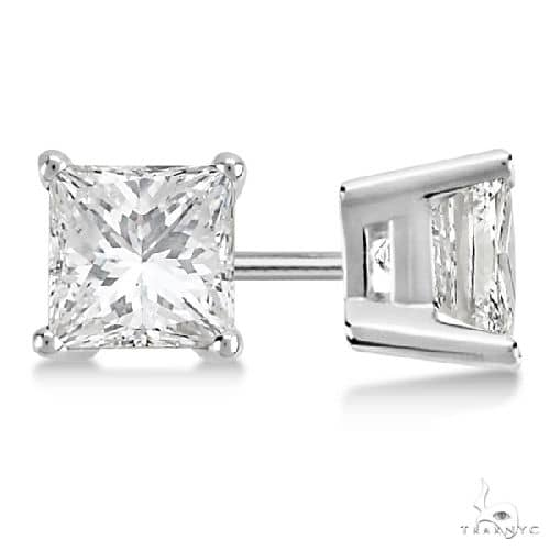 Princess Diamond Stud Earrings Palladium H-I, SI2-SI Stone