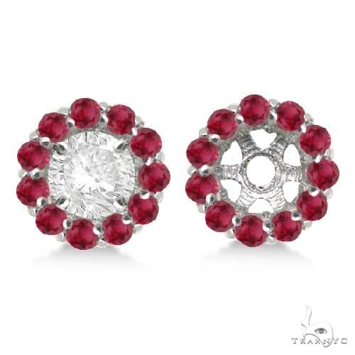 Round Ruby Earring Jackets for 7mm Studs 14K White Gold Stone