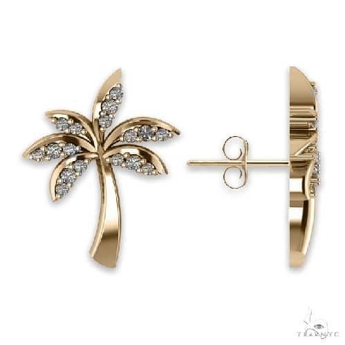 Diamond Palm Tree Summer Earrings 14k Yellow Gold Stone