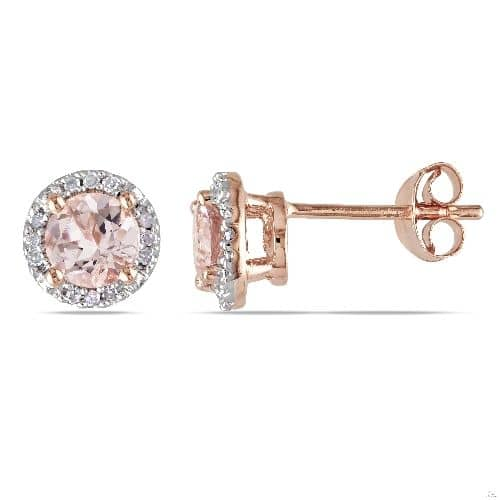 Diamond and Morganite Ear Pin Stud Earrings Rose Sterling Silver Stone