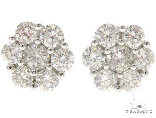 14K White Gold Prong Diamond Cluster Stud Earrings 57672 Stone