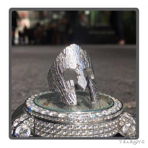 Silver Spartan Mask TraxNYC Prong Diamond Ring 57663 Stone