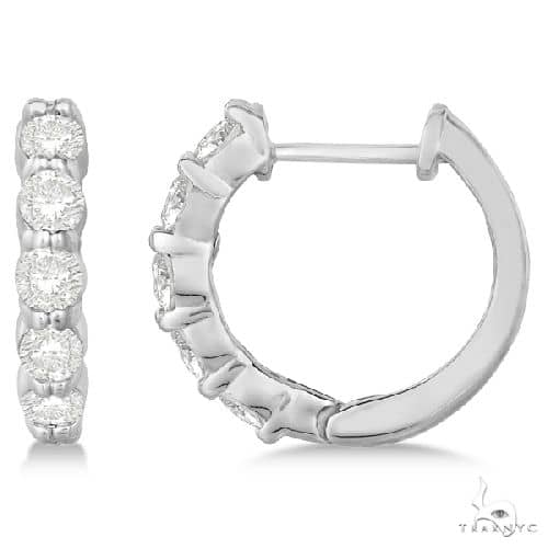 Hinged Hoop Diamond Huggie Style Earrings in 14k White Gold Stone