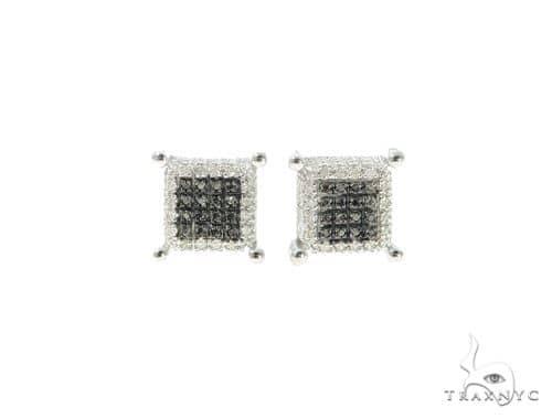 Black and White Diamond Silver Earrings 57686 Metal