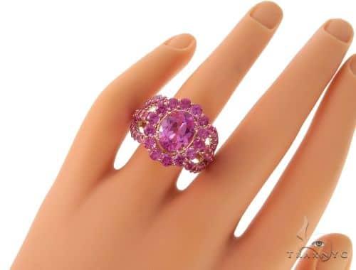 Ladies Pink Sapphire Halo Flower Ring 57698 Anniversary/Fashion