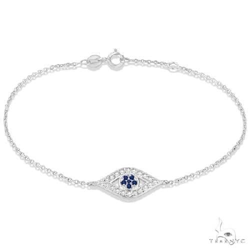 Blue Sapphire Evil Eye Diamond Bracelet in 14k White Gold Gemstone & Pearl