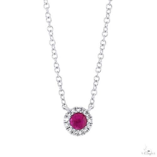 0.04ct Diamond and 0.14ct Ruby 14k White Gold Diamond Necklace Gemstone