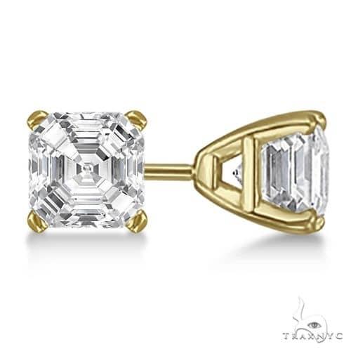 Asscher-Cut Diamond Stud Earrings 18kt Yellow Gold G-H, VS2-SI1 Stone
