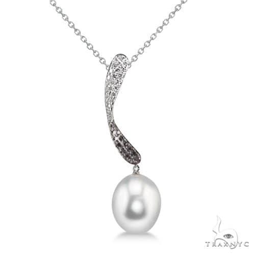 Freshwater Pearl, White and Black Diamond Twist Pendant 14K W Gold 9.5mm Stone