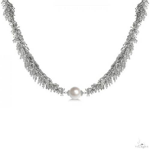 Freshwater Pearl Necklace Sterling Silver Lace Detail 9.5-10mm Stone