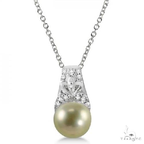 Freshwater Gold Pearl and Diamond Necklace Sterling Silver 8-9mm Stone