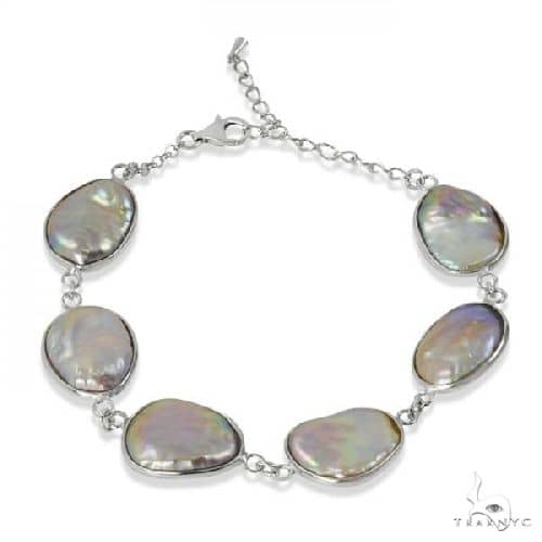 Baroque Shaped Freshwater Pearl Link Bracelet Sterling Silver 13-18mm Gemstone & Pearl
