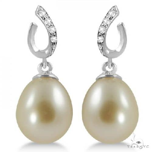 Freshwater Cultured Pearl and Diamond Drop Earrings 14K W. Gold 8-9mm Stone