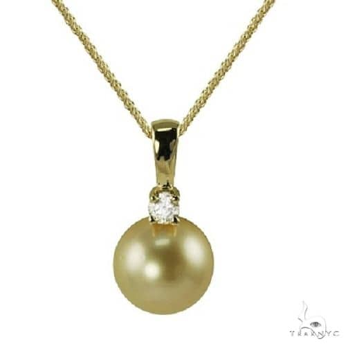Golden South Sea Pearl and Diamond Drop Pendant 14K Yellow Gold 9-10mm Stone