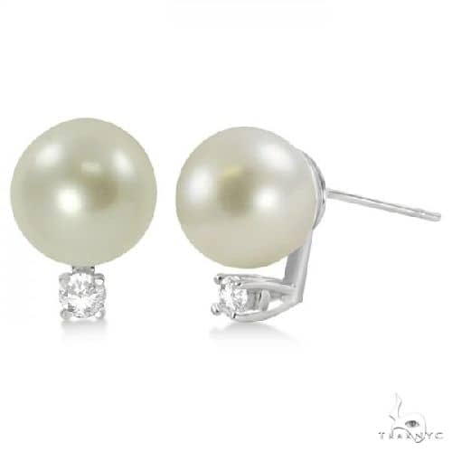Diamond and Cultured South Sea Pearl Stud Earrings 14K White Gold 9-10mm Stone