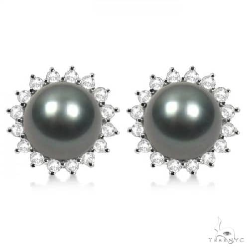 Cultured Tahitian Pearl and Diamond Stud Halo Earrings 14K W. Gold 8-9mm Stone