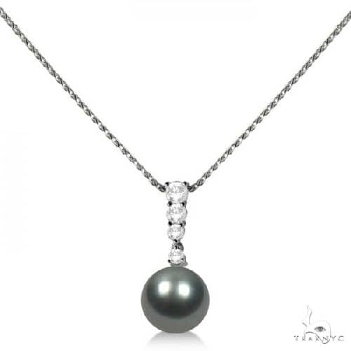 Graduated Diamond and Tahitian Pearl Pendant 14K White Gold 9-10mm Stone