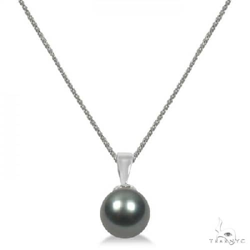 Cultured Tahitian Black Pearl Solitaire Pendant 14K White Gold 9-10mm Stone