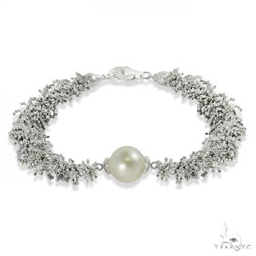 Lace Like Sterling Silver Bracelet w/ Freshwater near round Pearl (9.5-10.5mm) Gemstone & Pearl