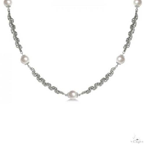 Cultured Freshwater Pearl Necklace Sterling Silver Links 8-8.5mm Stone