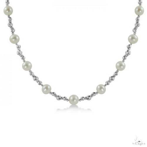 Beads and Freshwater Pearl Necklace Sterling Silver 8.5-9mm Stone