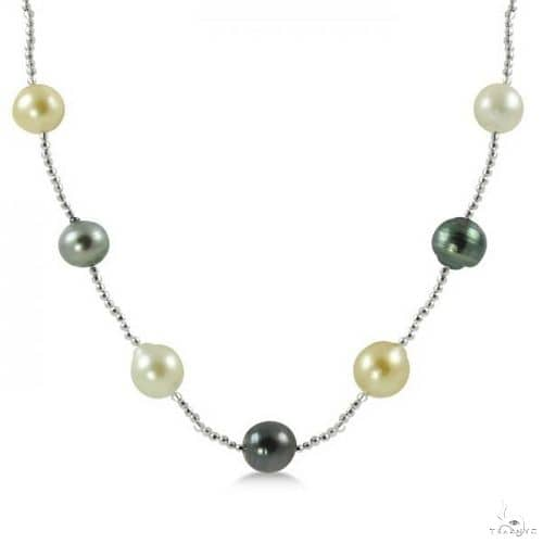 Multicolored Freshwater and Tahitian Pearl Necklace 14K White Gold 8.9mm Stone