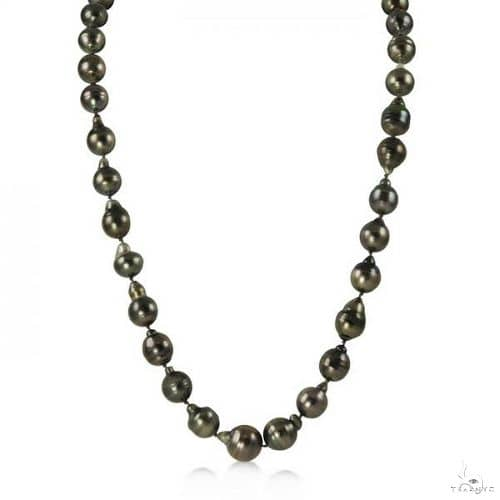 Circle Cultured Black Tahitian Pearl Strand Necklace 8-11mm Stone