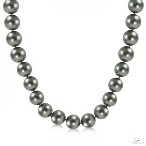 Black Tahitian Pearl Strand Necklace 14K White Gold AAA 9-11.5mm Stone