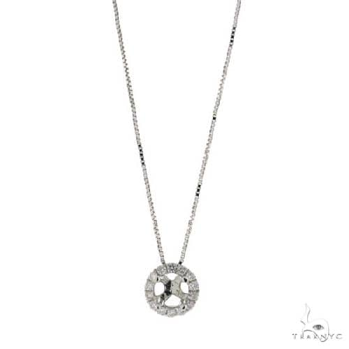 14k White Gold Diamond Semi-mount Pendant Necklace Style