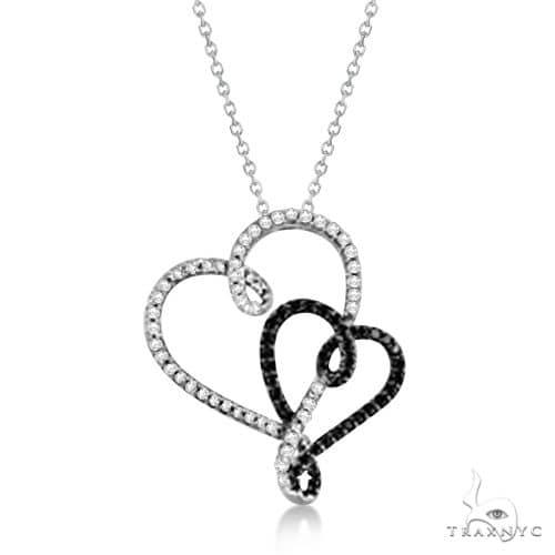 White and Black Diamond Double Heart Pendant in 14K White Gold Diamond