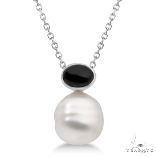 Black Onyx and South Sea Circle Pearl Pendant  14K White Gold 11mm Stone