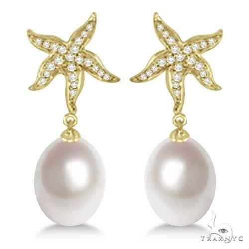 South Sea Pearl and Diamond Starfish Earrings 18K Yellow Gold 11mm Stone