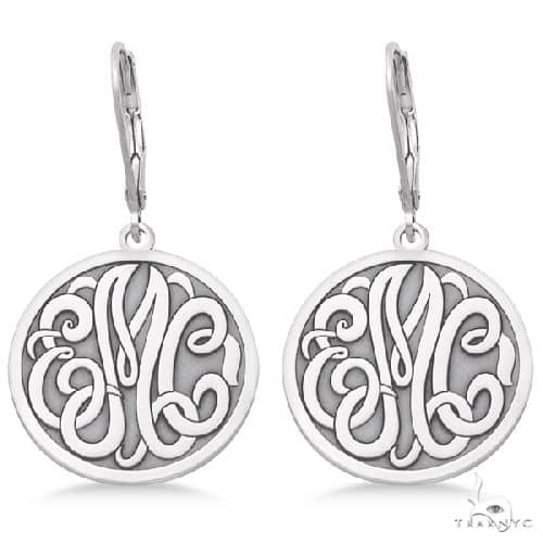 Stylized Initial Circle Monogram Earrings in 14k White Gold Metal