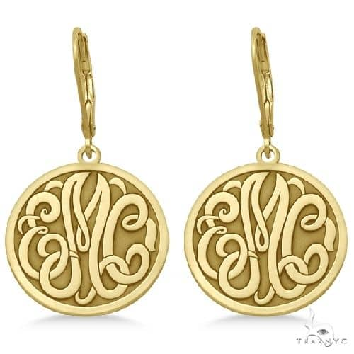 Stylized Initial Circle Monogram Earrings in 14k Yellow Gold Metal