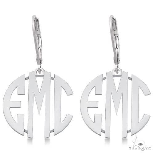 Bold 3 Initials Monogram Earrings in 14k White Gold Metal