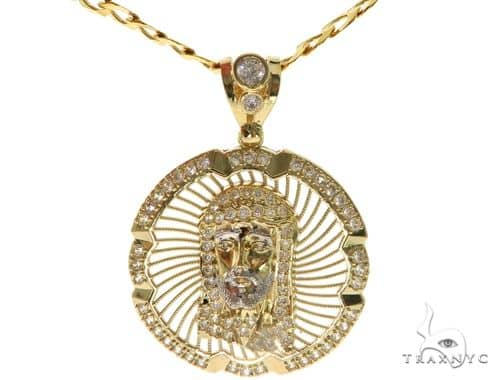 Jesus Head Pendant Chain Set 58414 Style