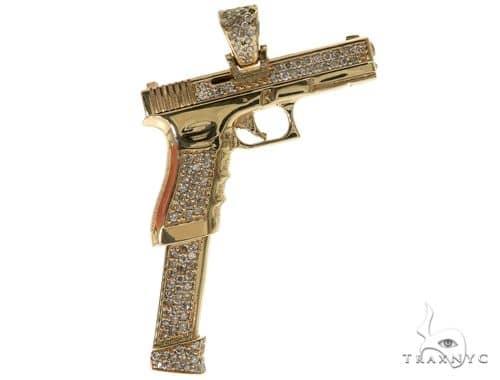 14K YG Prong Diamond Gun Pendant 58427 Metal