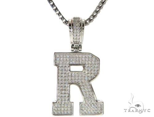 CZ Silver Initial(R) Pendant 24 Inches Franco Chain Set 58486 Metal