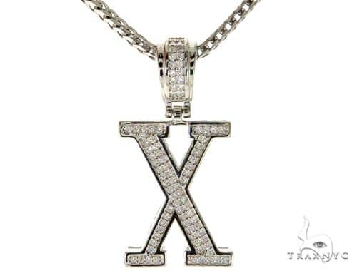 CZ Silver Initial(X) Pendant 24 Inches Franco Chain Set 58492 Metal