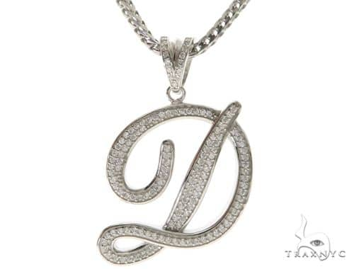CZ Silver Initial(D) Pendant 30 Inches Franco Chain Set 58500 Metal