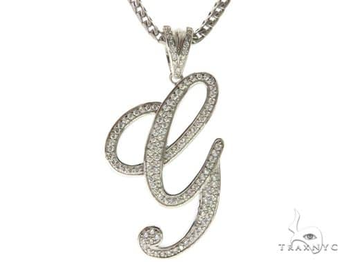 CZ Silver Initial(G) Pendant 30 Inches Franco Chain Set 58503 Metal