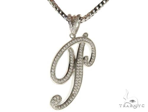 CZ Silver Initial(P) Pendant 30 Inches Franco Chain Set 58512 Metal