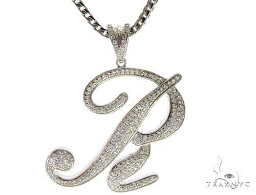 CZ Silver Initial(R) Pendant 30 Inches Franco Chain Set 58514 Metal