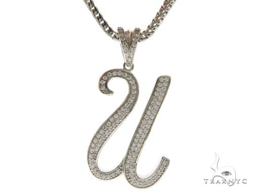 CZ Silver Initial(U) Pendant 30 Inches Franco Chain Set 58517 Metal